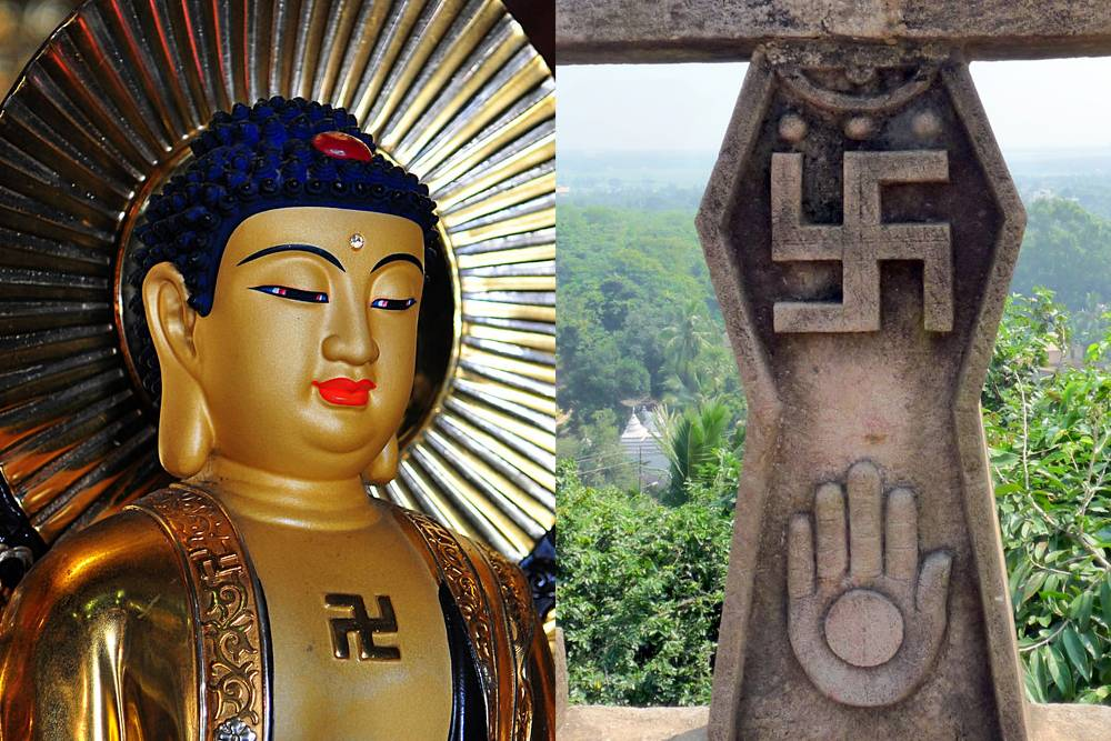 swastika on buddhist and jain statues